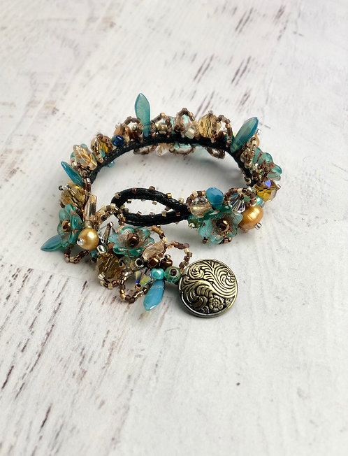 Large Teal and Gold Glass Bead Garden Bracelet