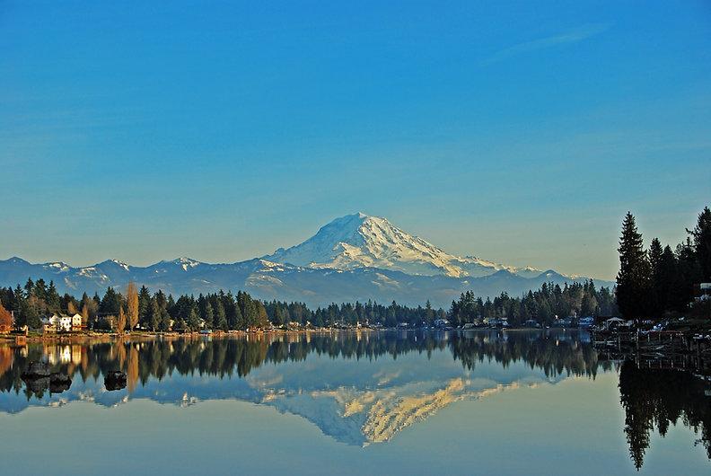 Mt. Rainier reflecting in Lake Tapps, Su