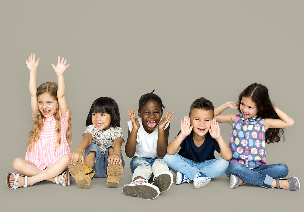 Group of happiness little children sitti