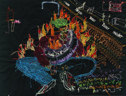 The Journey to Freedom narratives. Burning tyre back of embroidery