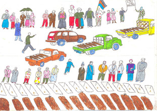 The Journey to Freedom narratives. Mass graves drawing