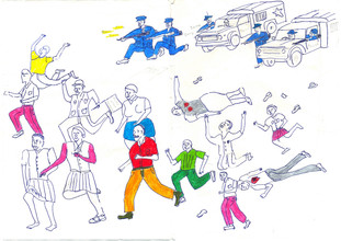 The Journey to Freedom narratives. Police Shooting Drawing