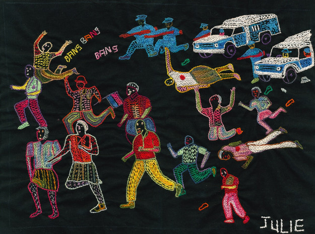 The Journey to Freedom narratives. Police Shooting Embroidery