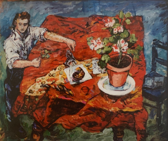 Red table cloth. 1993