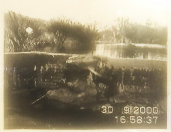 Photograph of dam transferred to transparancy