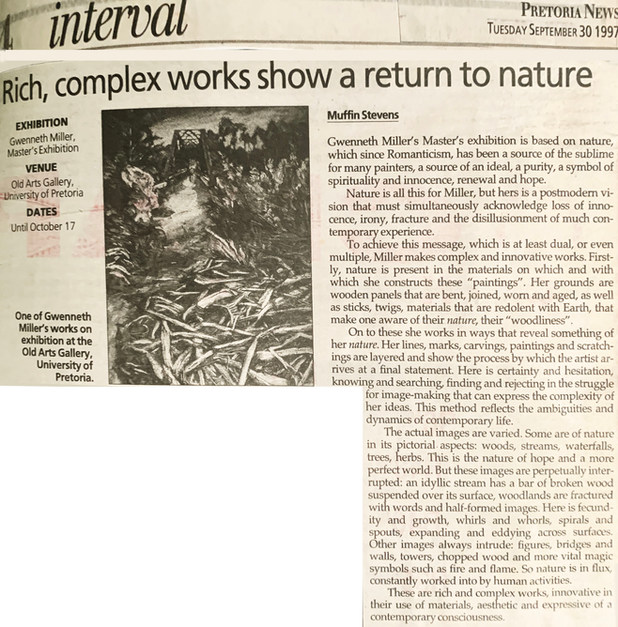 Rich, complex works show a return to nature. 30 September 1997