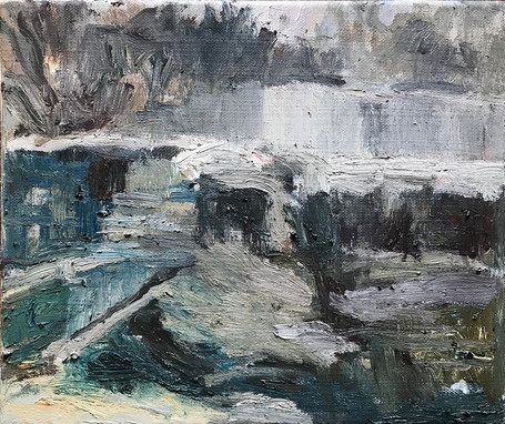 Preparatory oil sketch of dam wall not exhibited