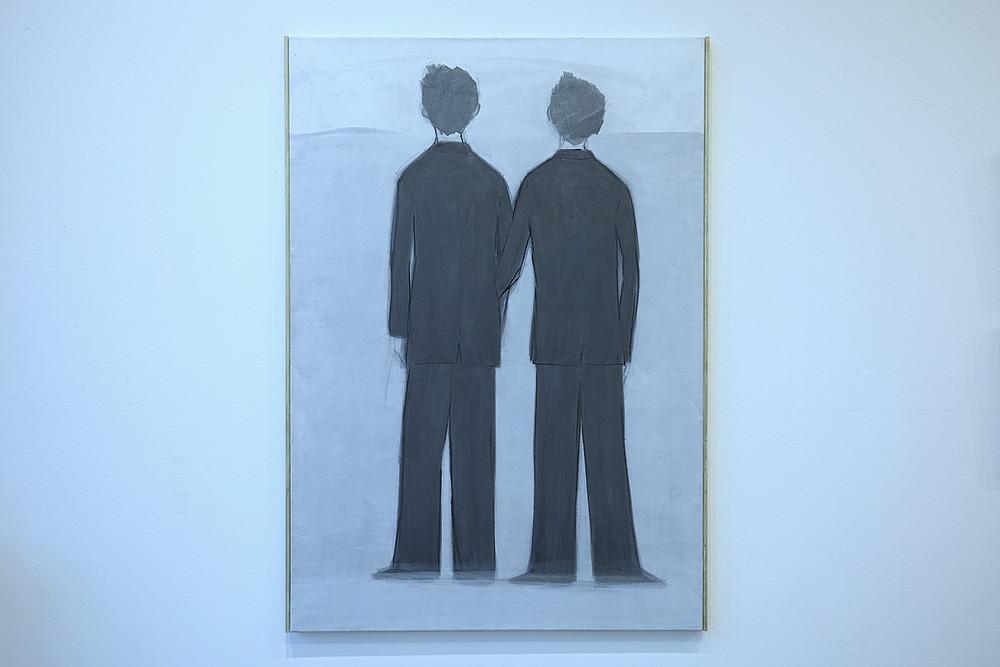"""E. Gineitytė """"Rūkas"""" 2020, Drobė, akrilinis gruntas, tušas 83x116 cm. Nuotraukos autorius V. Nomadas"""