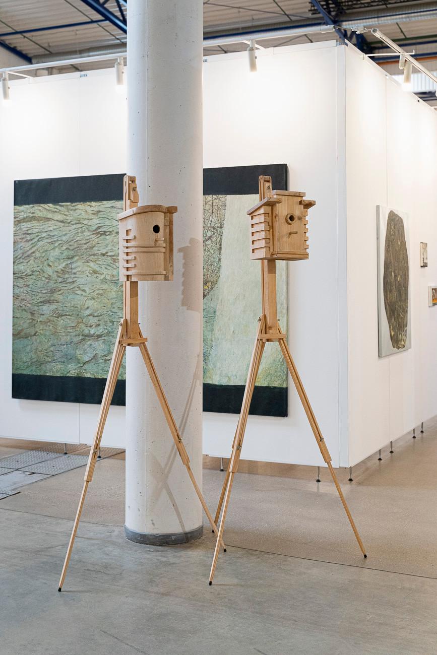 """Morfai. instaliacija """"Inkilai – tarpukario modernizmo architektūros stiliumi"""","""