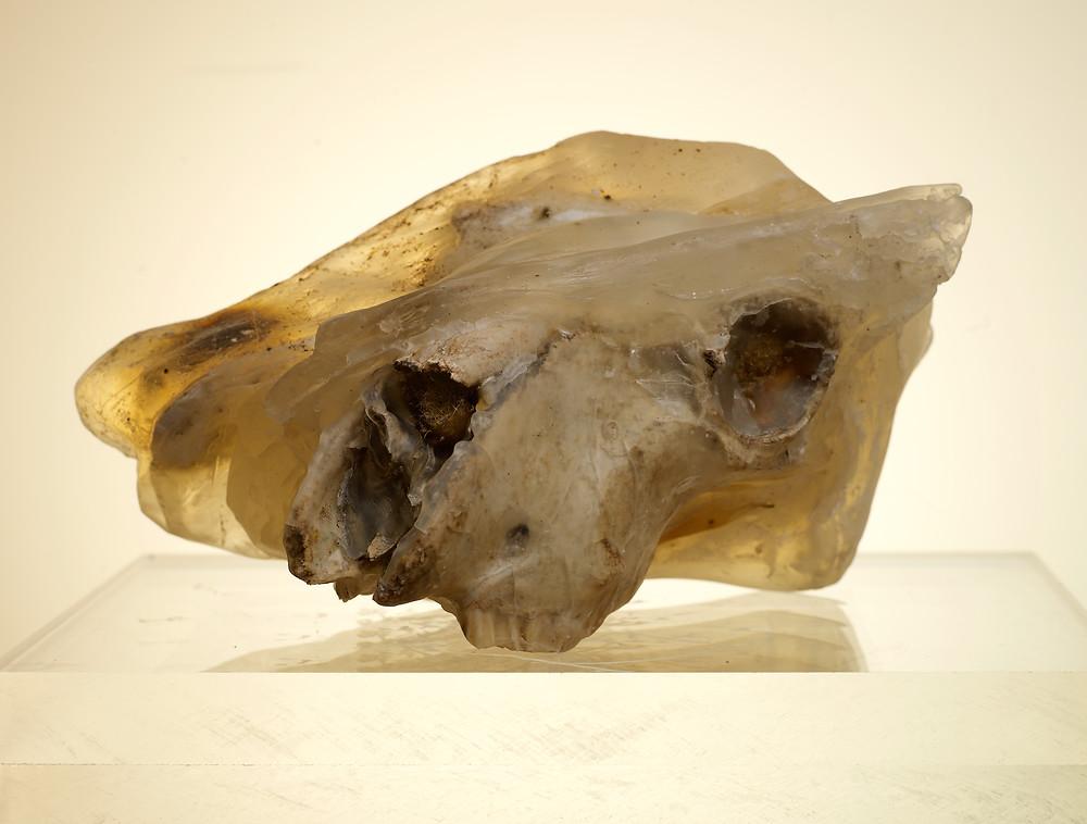 """Audra Vau. Skulptūra """"Paminklas"""". Skystas stiklas, akrilas, muilo masė, augalai, kaulų fragmentai, asmeniniai daiktai, neviltis. 34x14x20cm. 2021. Meno Niša archyvo nuotrauka"""