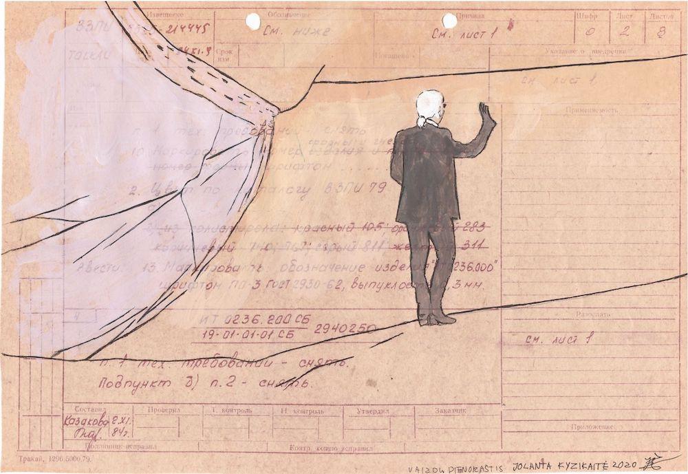 Jolanta Kyzikaitė. Vaizdų dienoraštis III, popierius, tempera ir gelinis rašiklis, 20x30 cm, 2020