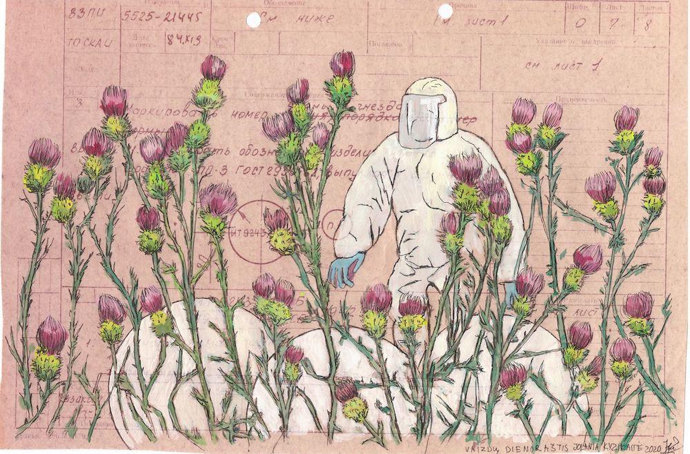 Jolanta Kyzikaitė. Vaizdų dienoraštis II, popierius, tempera ir gelinis rašiklis, 20x30 cm, 2020