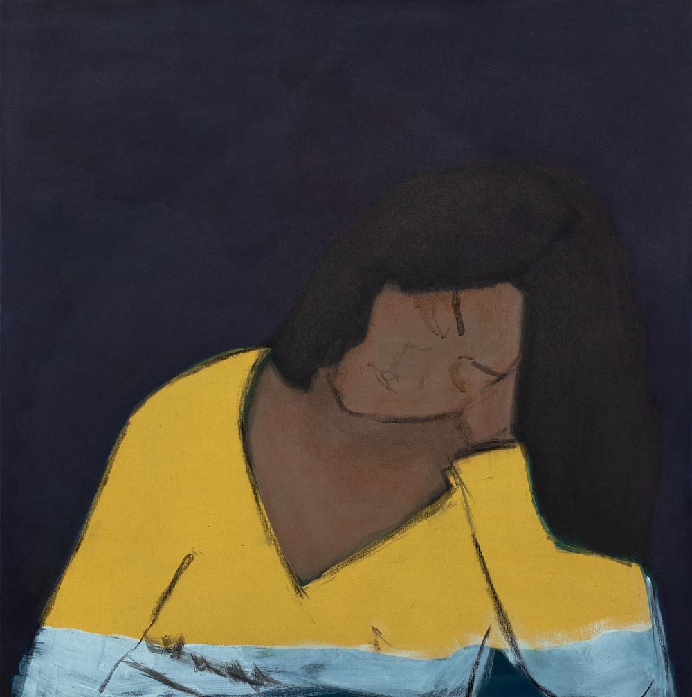 """Eglė Gineitytė ,,Moteris geltonu drabužiu"""" pagal Antano Samuolio tapybos darbą 2020, Drobė, tušas 90x90 cm"""