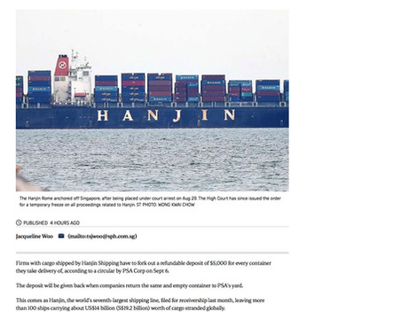 PSA imposes $5000 refundable deposit - Hanjin