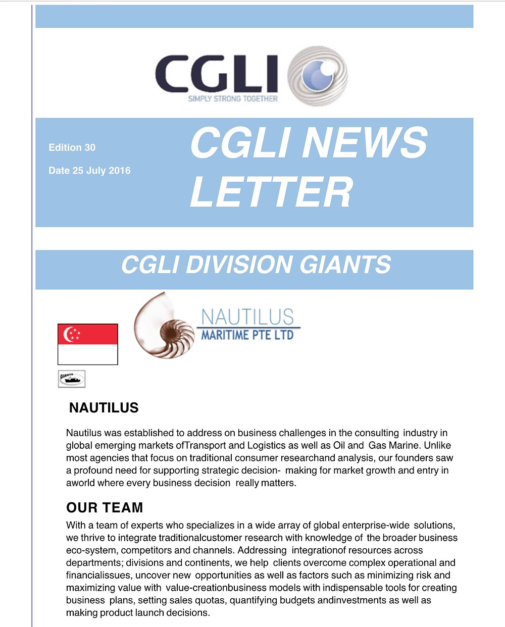 We are please to announce that on the 25th July, Nautilus Maritime has officially become a member of the CGLI - simply - strong - together Network. We are proud to present our clients new alternatives and options to cover all their requirements!
