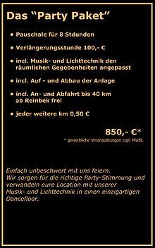 Party Paket Preis