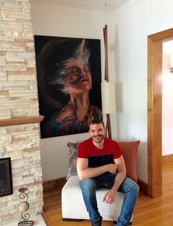 Nothing beats hanging your work in amazing collector's homes.  Sitting with Lost Cycle..