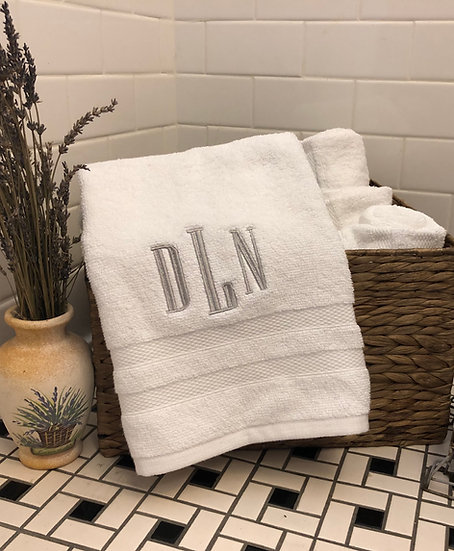 Custom Embroidered Monogram Hand Towels