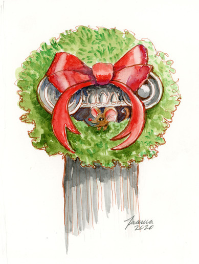Wreath on column with mouse