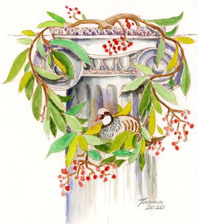 Wreath column partridge