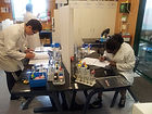 Carey College students doing science experiments