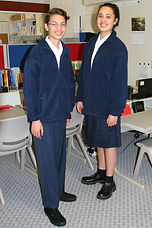 two Carey College students in senior uniform