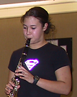 Carey College student playing a wind instrument