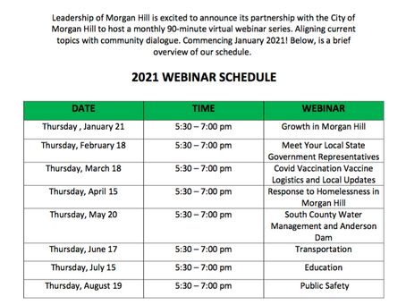 2021 City of Morgan Hill  & Leadership Morgan Hill Calendar