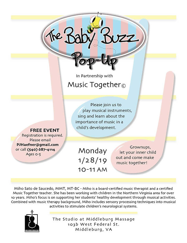 Flyer for childrens' music class in northern Virginia