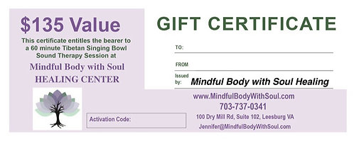 Tibetan Singing Bowl Sound Therapy Gift Certificate
