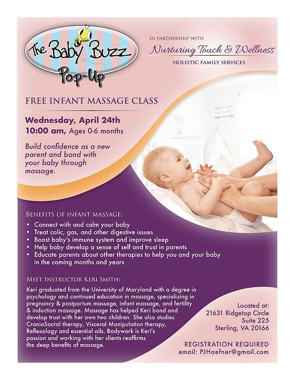 Flyer for infant massage class