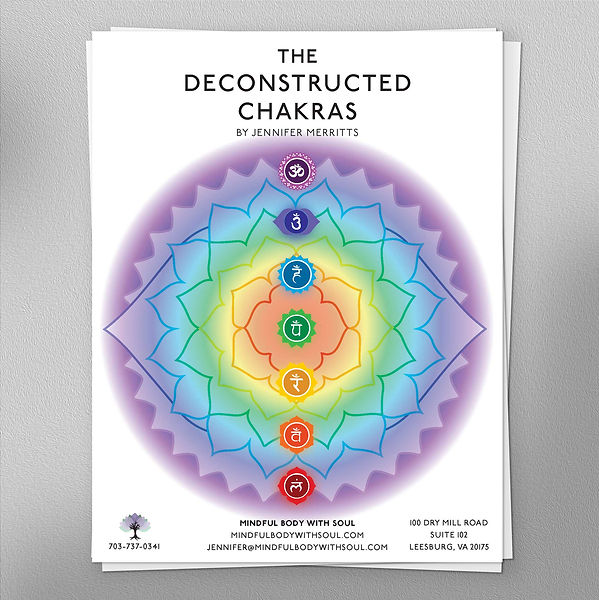 Booklet cover with rainbow chakra mandalas.