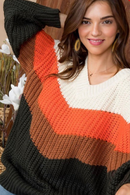 Falling Into Fall Color Block Sweater