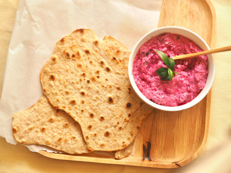 Beetroot raita with homemade flatbread