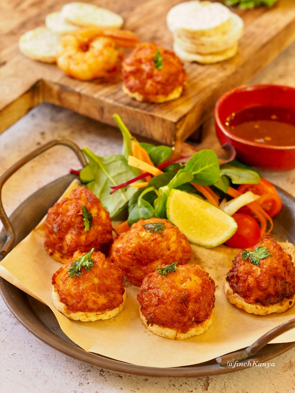 Crispy Thai prawn balls on rice cakes