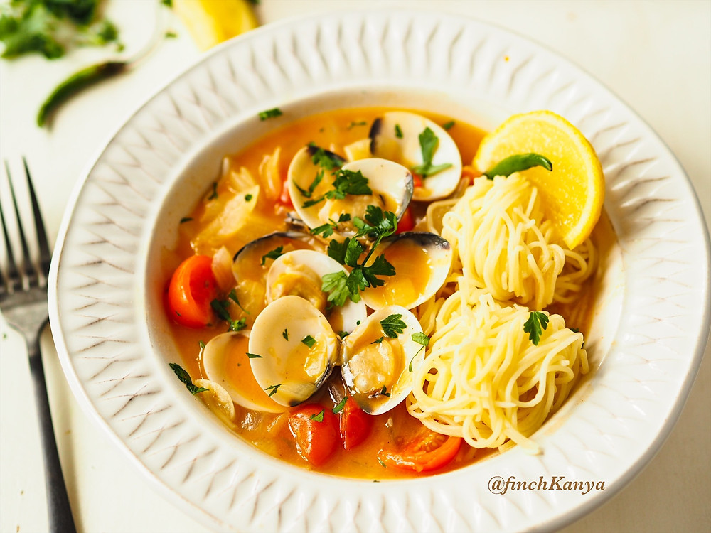 A classic Thai Tom Yam with clams