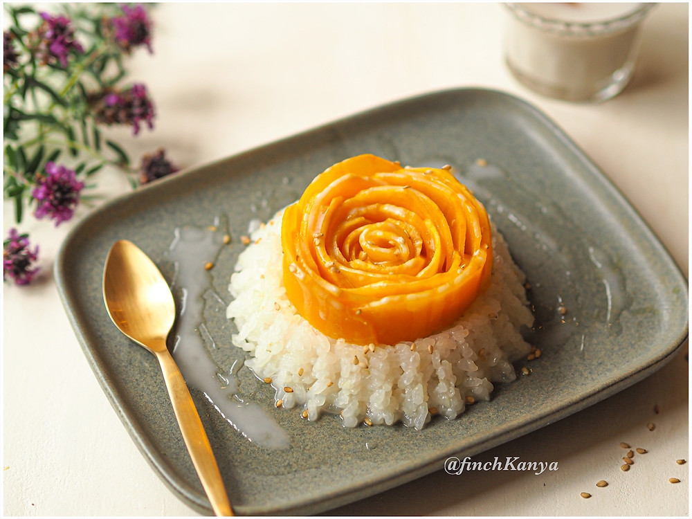Thai mango and sticky rice with coconut cream dressing