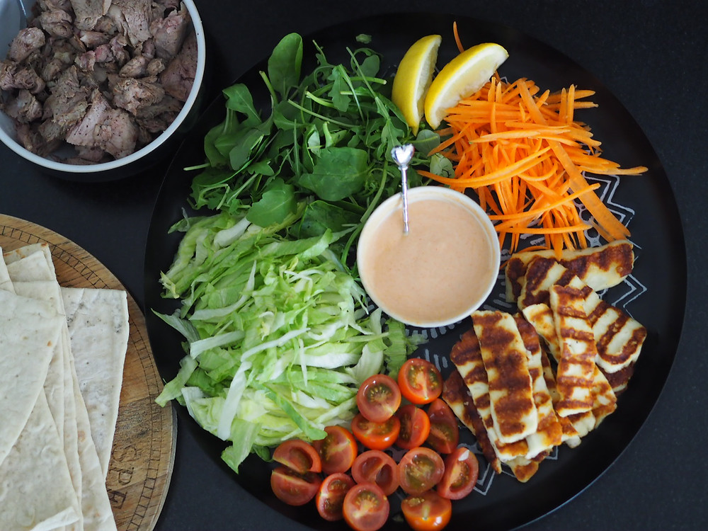 lamb wraps with grilled halloumi salad
