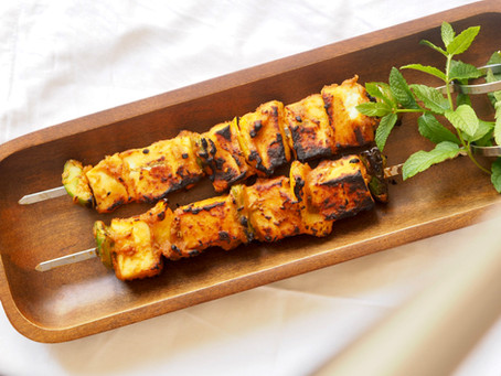 Grilled spicy paneer