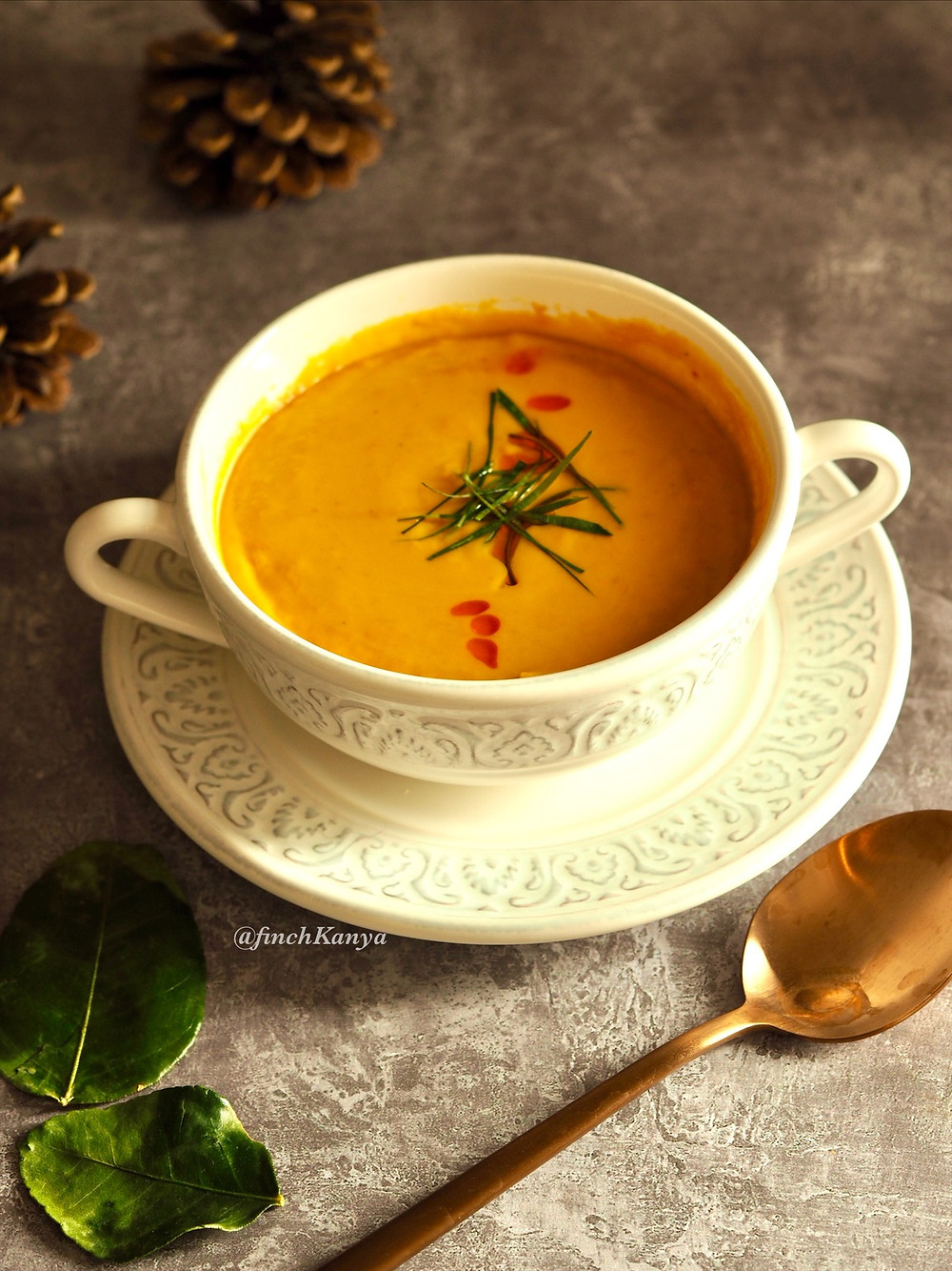 Butternut squash soup with Thai herbs and spice.