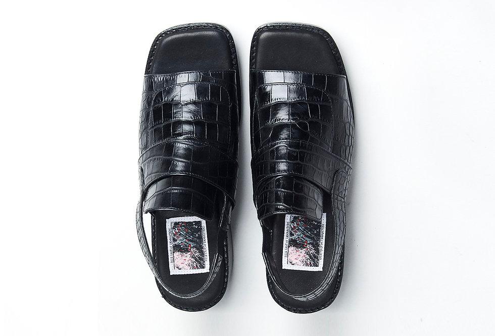Oslo Slingback Sandals (Croc-effect)