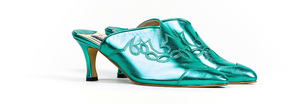 CLINT metallic green mules pumps