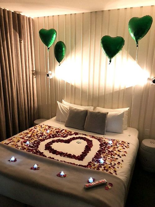 Rose Petals, Champagne, Candlelight and Balloons