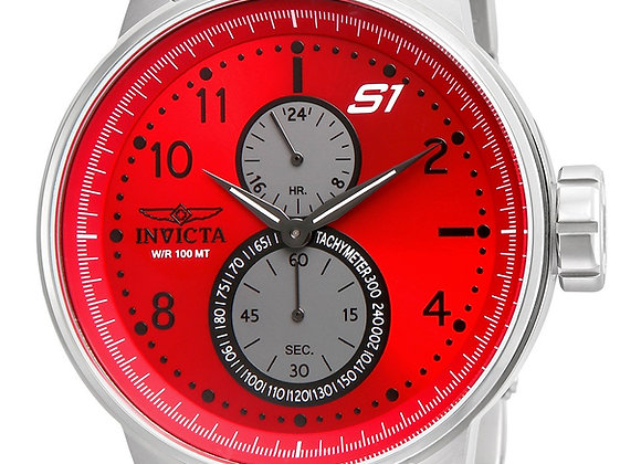 INVICTA S1 RALLY MENS QUARTZ 48MM STAINLESS STEEL CASE RED DIAL