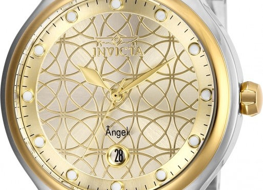 INVICTA ANGEL GOLD DIAL WATCH SILVER AND GOLD BAND