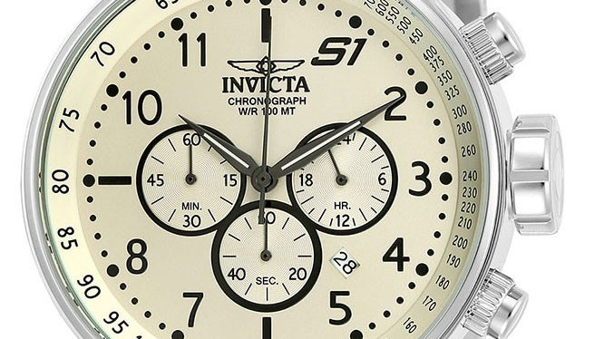 INVICTA S1 RALLY MENS QUARTZ 48MM STAINLESS STEEL CASE IVORY DIAL