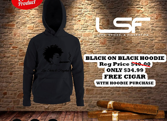 Female Black on Black Lips Sticks and Fingertips Hoodie