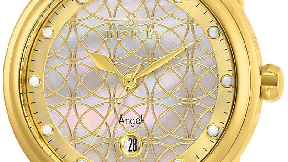 Invicta Women's Angel Quartz Watch with Stainless Steel Strap, Gold,
