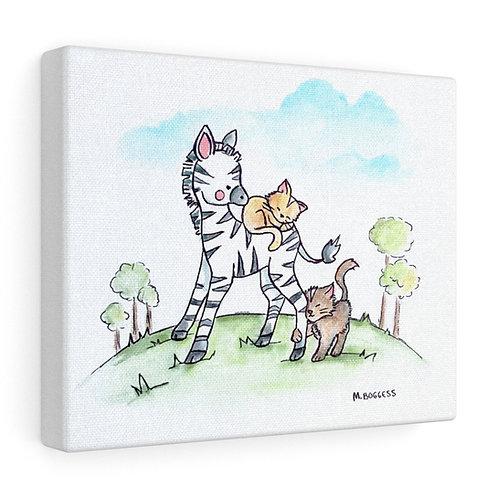 Zebra & Kittens Canvas Gallery Wrap