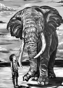 zeke and the elephant - 2018 - 36x48 .jp